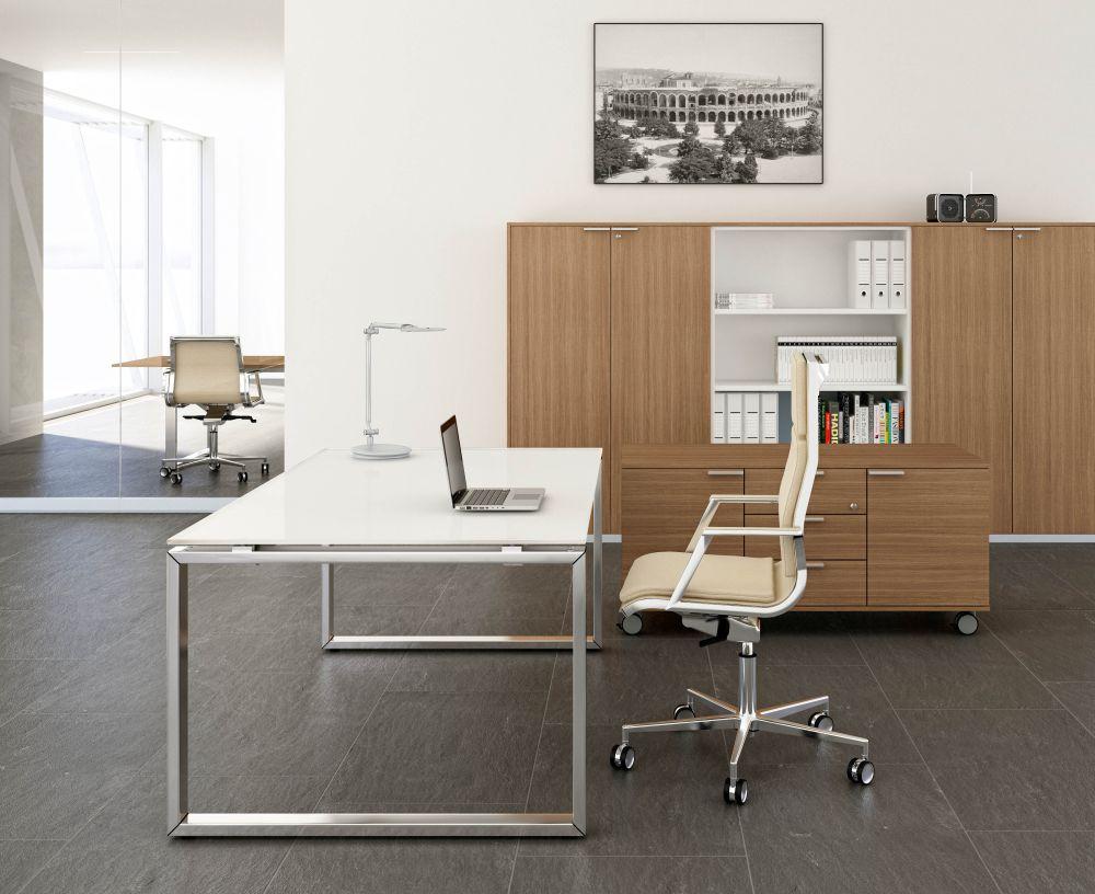 Glas- Schreibtisch LOOPY | Klassiker Direkt - Chefzimmer, Büromöbel ...
