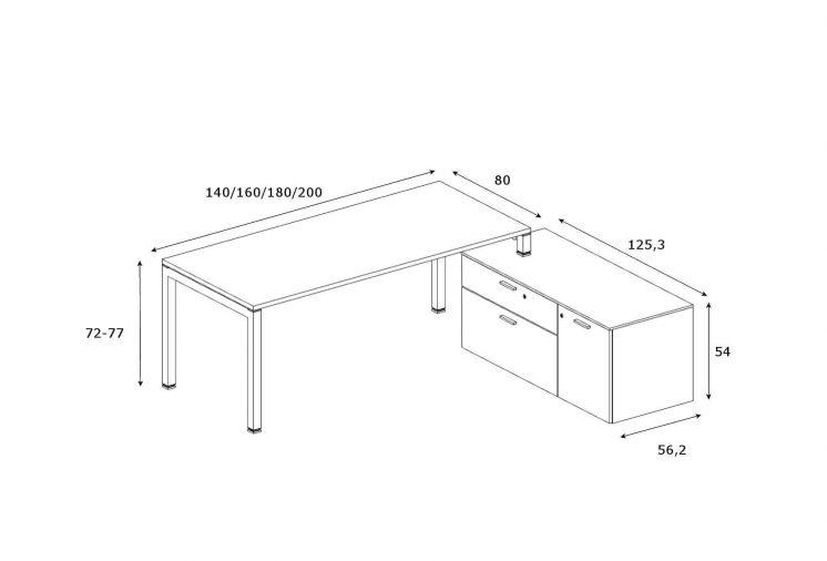 Schreibtisch-mit-Sideboard-Abmessungen