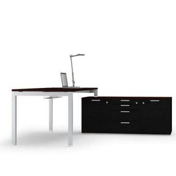 Schreibtisch-mit-Sideboard-Gate-dunkel-Wenge-Schwarz