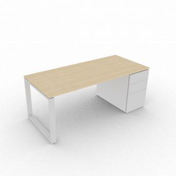 Schreibtisch-mit-Unterbaucontainer-Loopy-Eiche