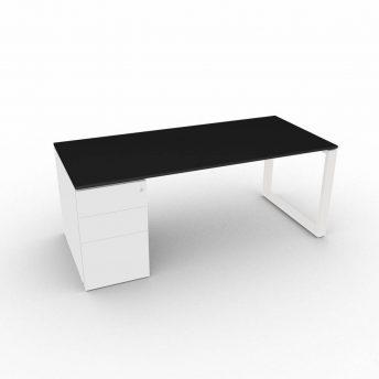 Schreibtisch-mit-Unterbaucontainer-Loopy-Schwarz-Weiss