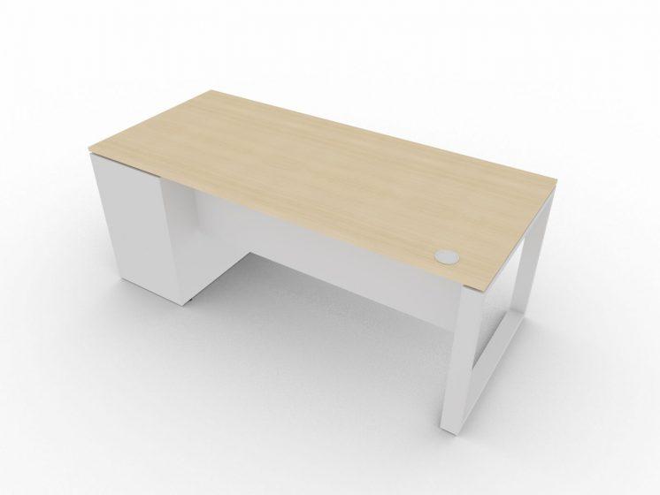 Schreibtisch-mit-Unterbaucontainer-Loopy-mit Zubehoer-Knieraumblende-Kabeldurchlass