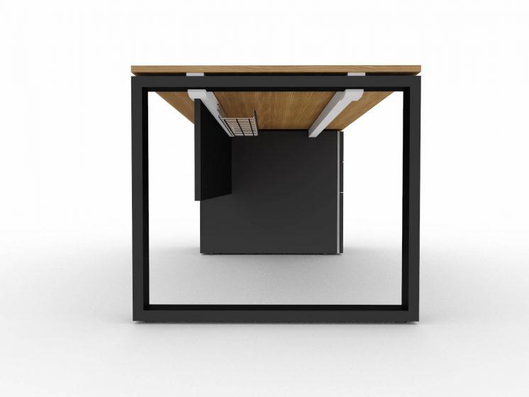 Schreibtisch-mit-Unterbaucontainer-Loopy-mit Zubehoer-Knieraumblende-Kabeldurchlass-Kabelkorb