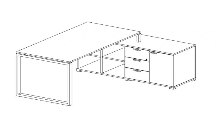 schreibtisch mit sideboard loopy b rom bel. Black Bedroom Furniture Sets. Home Design Ideas