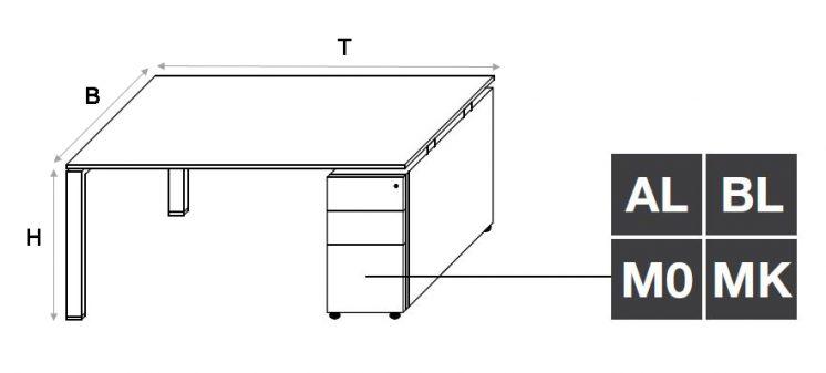 Arbeitstisch mit Container Glider 4