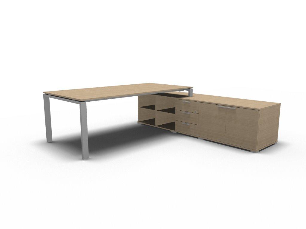 schreibtisch mit sideboard gross glider klassiker direkt. Black Bedroom Furniture Sets. Home Design Ideas