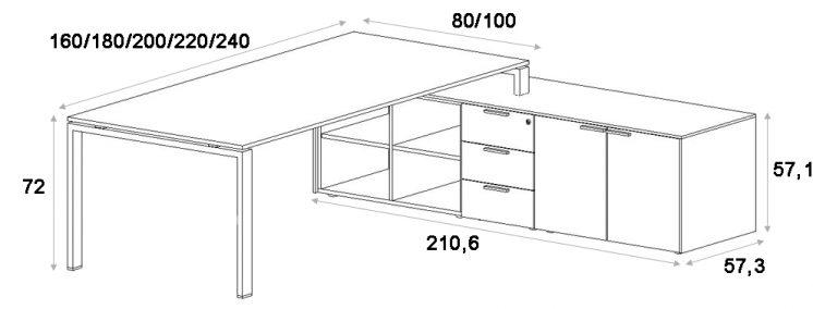 chef schreibtisch mit sideboard gross glider klassiker. Black Bedroom Furniture Sets. Home Design Ideas
