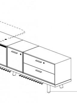 schreibtisch rail mit sideboard b rom bel. Black Bedroom Furniture Sets. Home Design Ideas