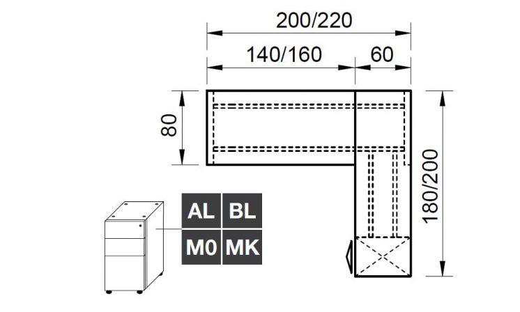 Eckschreibtisch mit Container Loopy 5