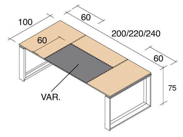 Schreibtisch-Arche-Leder-Abmessungen