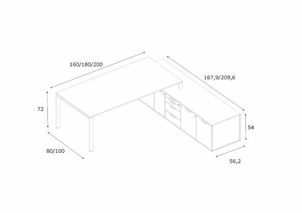 Schreibtisch-mit-Sideboard-Glider-Abmessungen