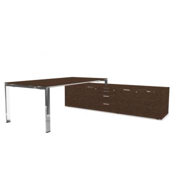 Schreibtisch-mit-Sideboard-Glider-Furnier-Eiche-Tabak