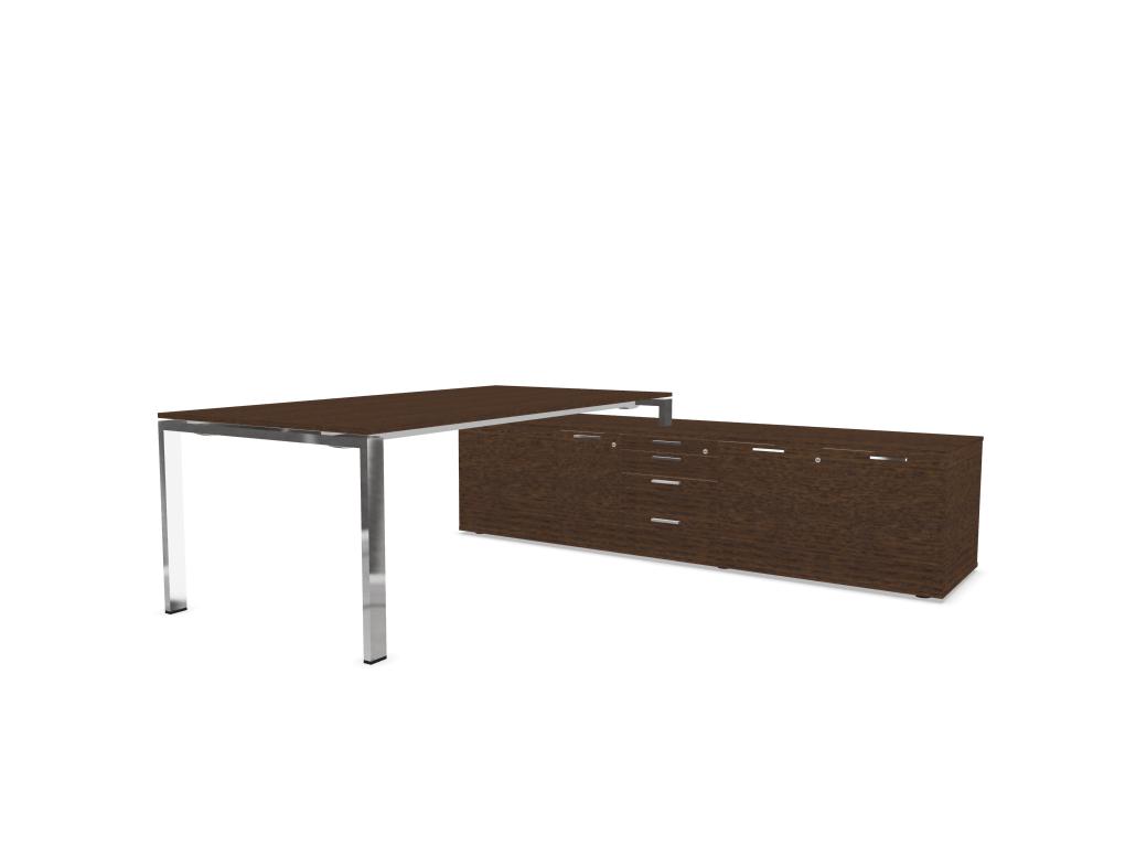 chef schreibtisch mit sideboard furnier b rom bel. Black Bedroom Furniture Sets. Home Design Ideas