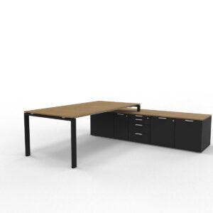Schreibtisch-mit-Sideboard-Glider-Nussbaum-Schwarz