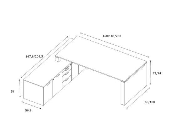Schreibtisch-mit-Sideboard-und-Wangengestell-Abmessungen