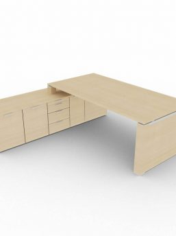 Schreibtisch-mit-Sideboard-und-Wangengestell-Eiche