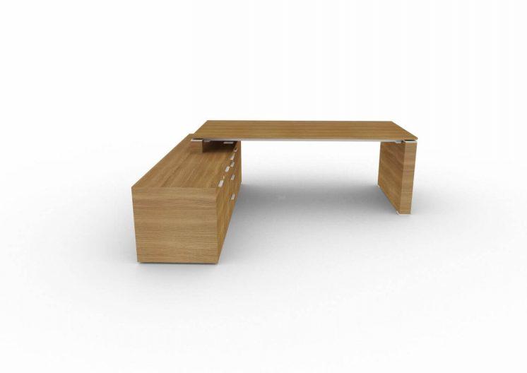 Schreibtisch-mit-Sideboard-und-Wangengestell-Nussbaum