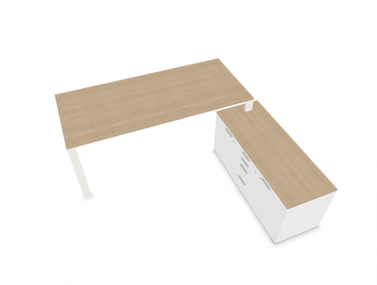 Schreibtisch-mit-kleinem-Sideboard-Weiss-Eiche
