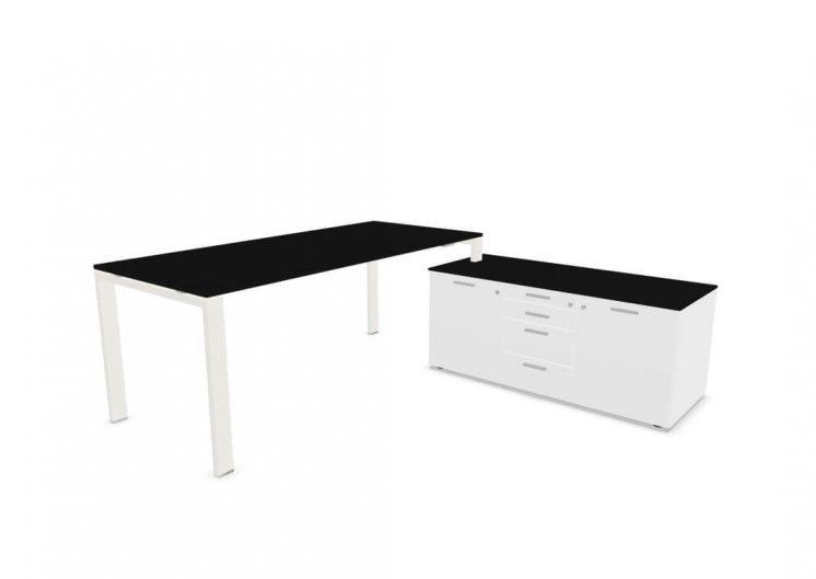 Schreibtisch-mit-kleinem-Sideboard-Weiss-Schwarz
