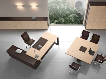 Leder- Schreibtisch mit Sideboard Arche