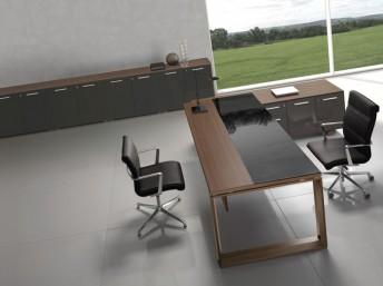 Schreibtisch Glas/Holz Arche