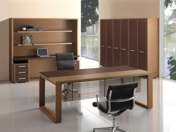 Schreibtisch Leder/Holz Arche