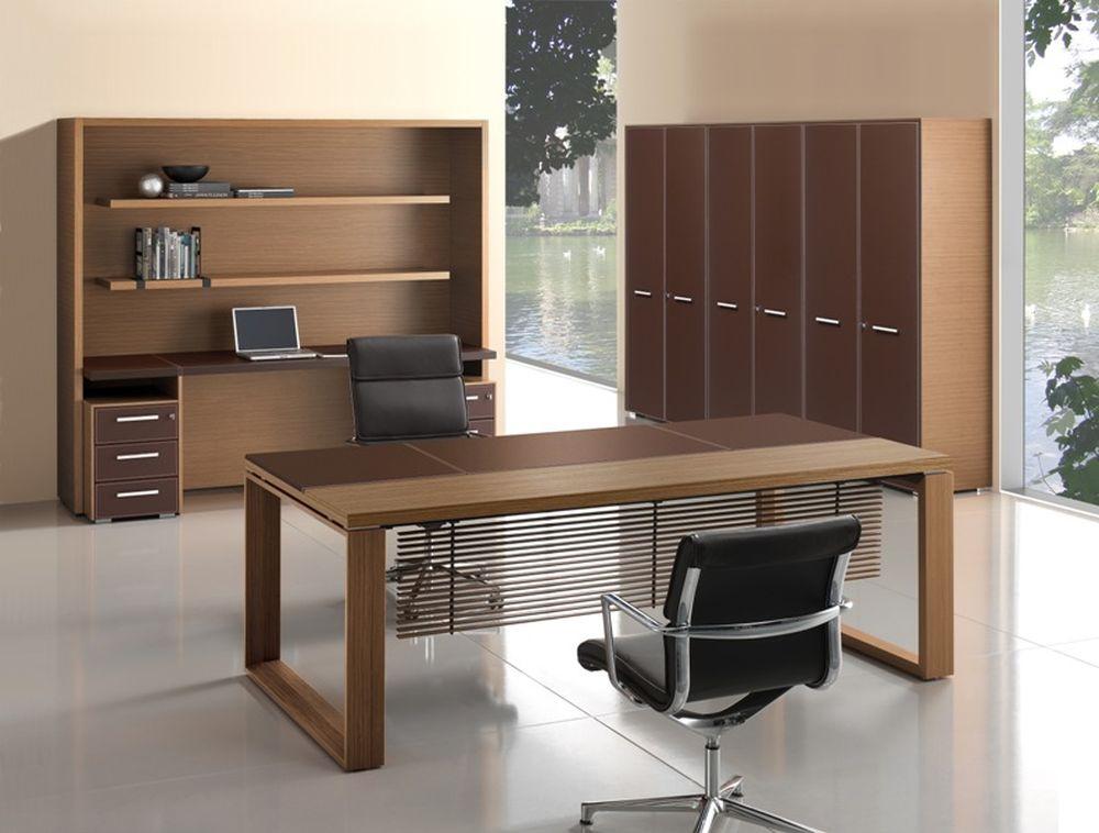 Schreibtisch Leder/Holz Arche   Klassiker Direkt - Chefzimmer ...
