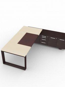 Schreibtisch-Arche-mit-Ledertischplatte-und-Sideboard