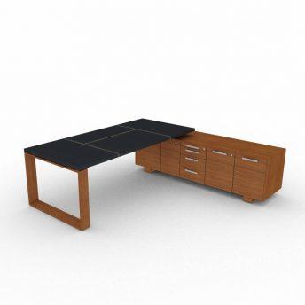 Schreibtisch-Arche-mit-Ledertischplatte-und-Sideboard-Nussbaum