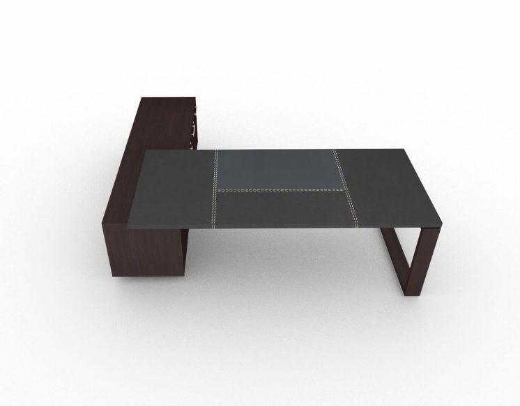 Schreibtisch-Arche-mit-Ledertischplatte-und-Sideboard-Wenge