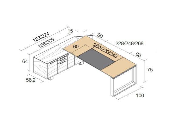 Schreibtisch-mit-Ledertischplatte-und-Sideboard-Arche-Abmessungen