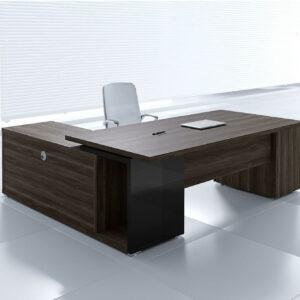 Chefschreibtisch-Faro-mit-Sideboard-und Container-Platane-dunkel-schwarz
