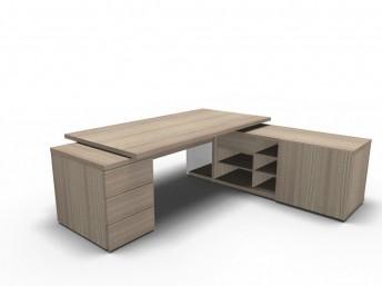 Chef- Schreibtisch FARO mit Sideboard und Container