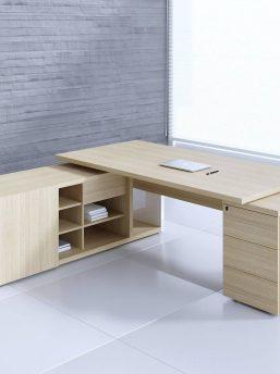 Schreibtisch-Faro-mit-Sideboard-und Container-Platane-hell