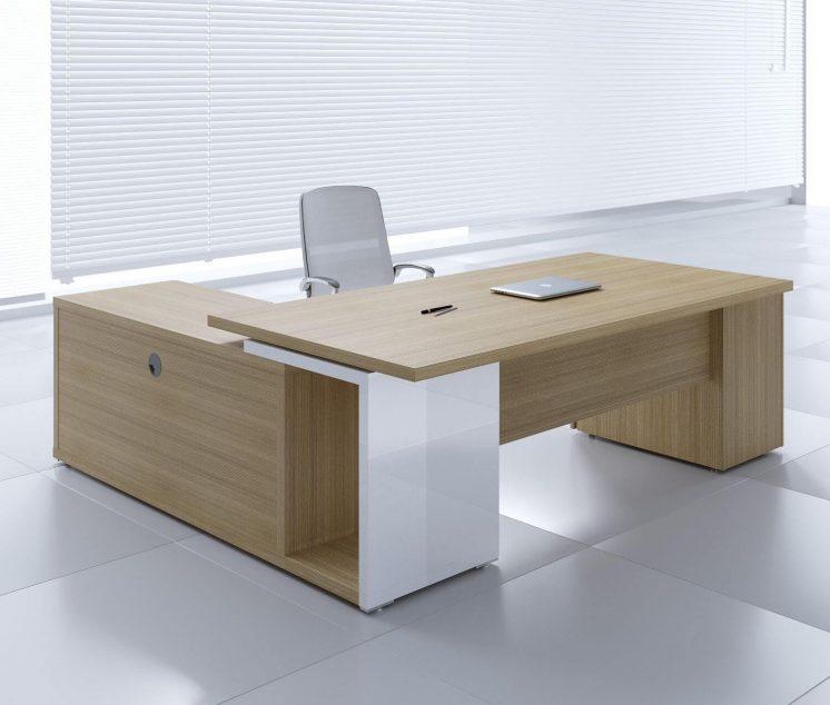 Schreibtisch-Faro-mit-Sideboard-und Container-Platane-hell-weiss