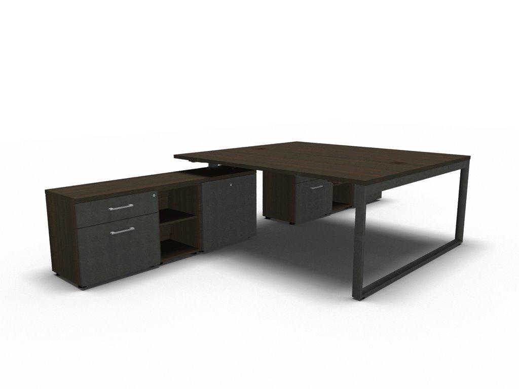 schreibtisch f r 2 personen mit sideboard yan z klassiker direkt chefzimmer b rom bel. Black Bedroom Furniture Sets. Home Design Ideas
