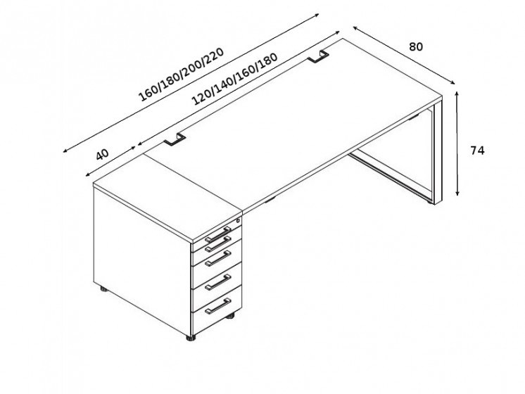 Schreibtisch mit Container YAN_Z_6