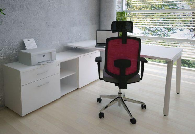 Weißer Schreibtisch mit Stauraum