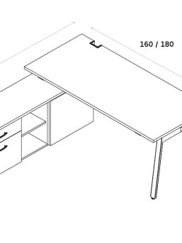 Schreibtisch mit Sideboard YAN_M_4