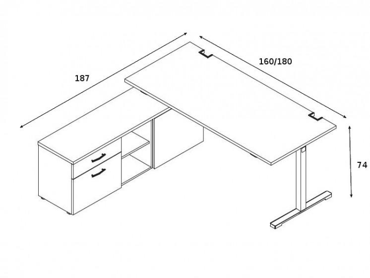 Schreibtisch mit Sideboard YAN_T_5
