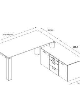 Glasschreibtisch-Jet Evo-mit-kleinem-Sideboard-Abmessungen
