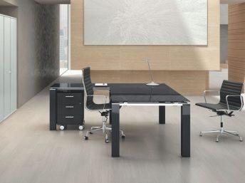 Winkel- Schreibtisch JET EVO mit Glasplatte