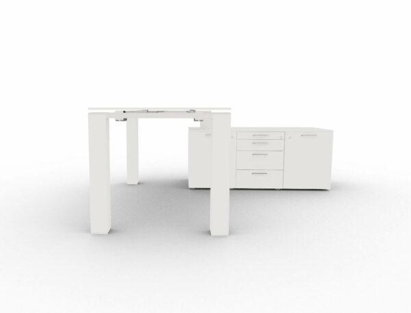 Schreibtisch-Jet Evo-mit-kleinem-Sideboard-Glasplatte-Weiss