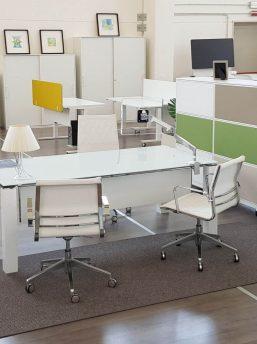 Schreibtisch-mit-Glasplatte-Jet Evo-Weiss-Weiss