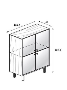 Highboard-4-Glastueren_Abmessung