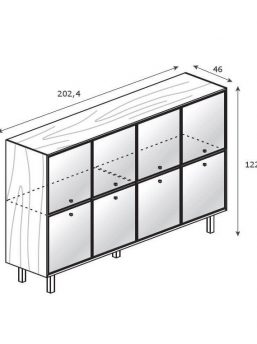 Highboard-8-Glastueren_Abmessung