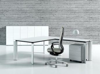 Design Winkel- Schreibtisch Ancona Glas