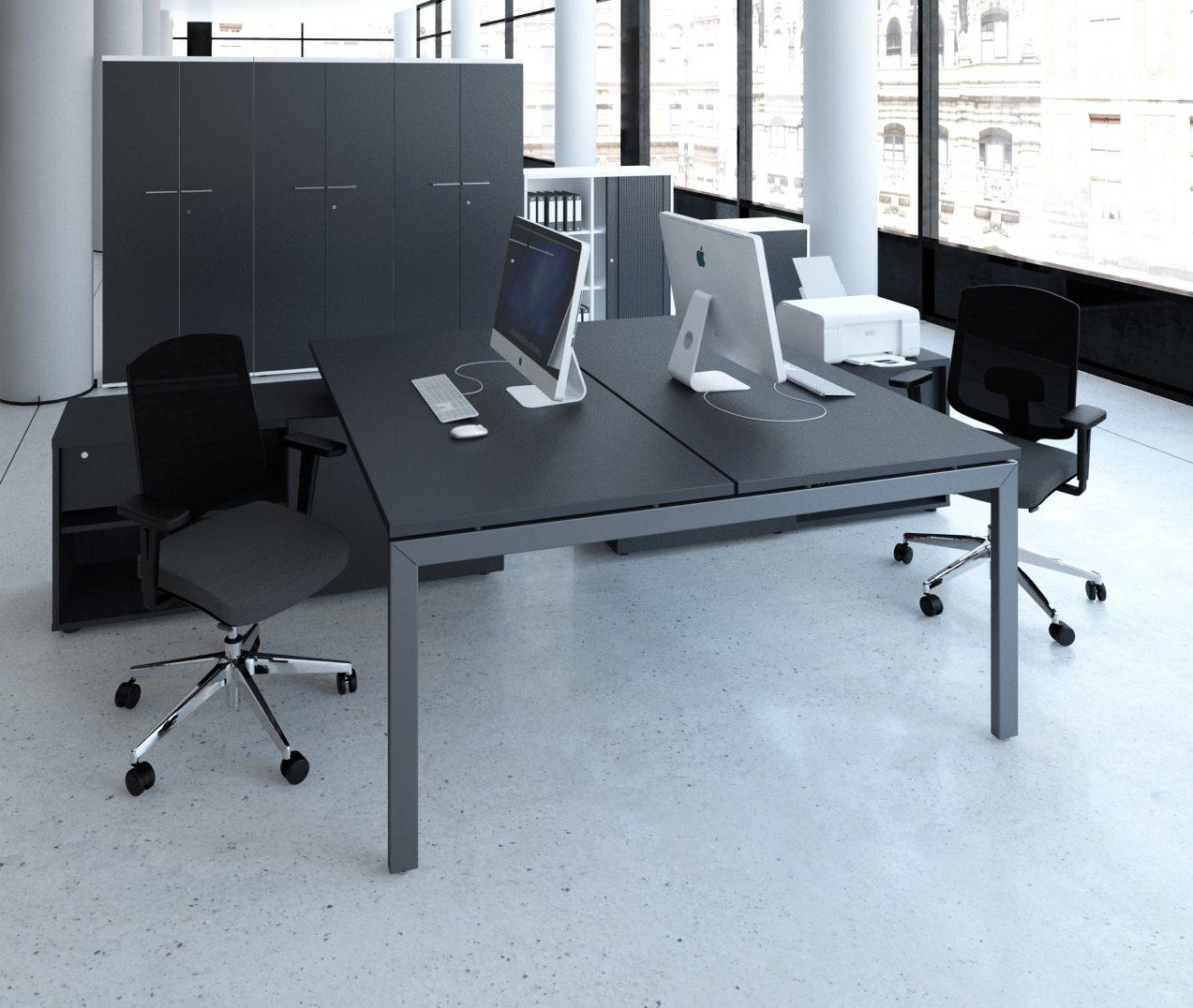 schreibtisch mit sideboards f r 2 personen b rom bel. Black Bedroom Furniture Sets. Home Design Ideas