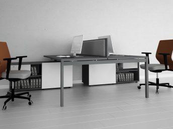 Schreibtisch für 2 Personen mit Managerschrank OGI_Y
