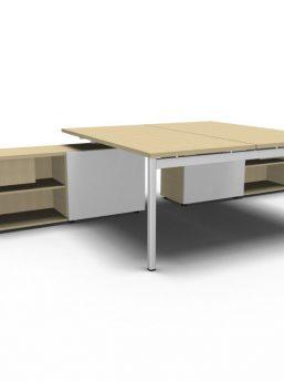 schreibtisch f r 2 personen mit managerschrank ogi y klassiker direkt chefzimmer b rom bel. Black Bedroom Furniture Sets. Home Design Ideas